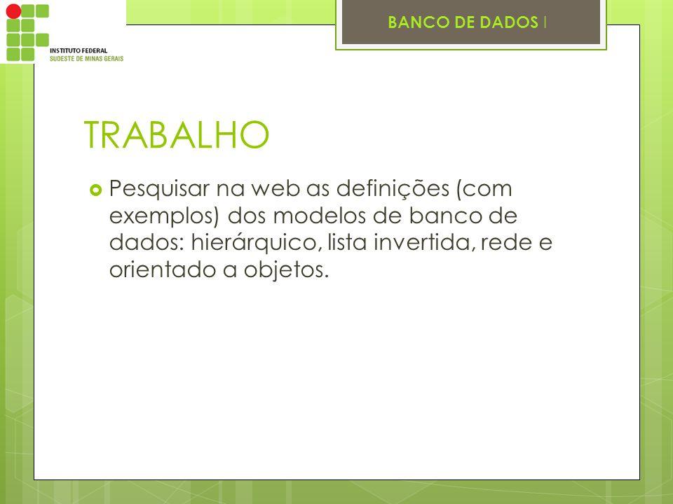 TRABALHO Pesquisar na web as definições (com exemplos) dos modelos de banco de dados: hierárquico, lista invertida, rede e orientado a objetos.