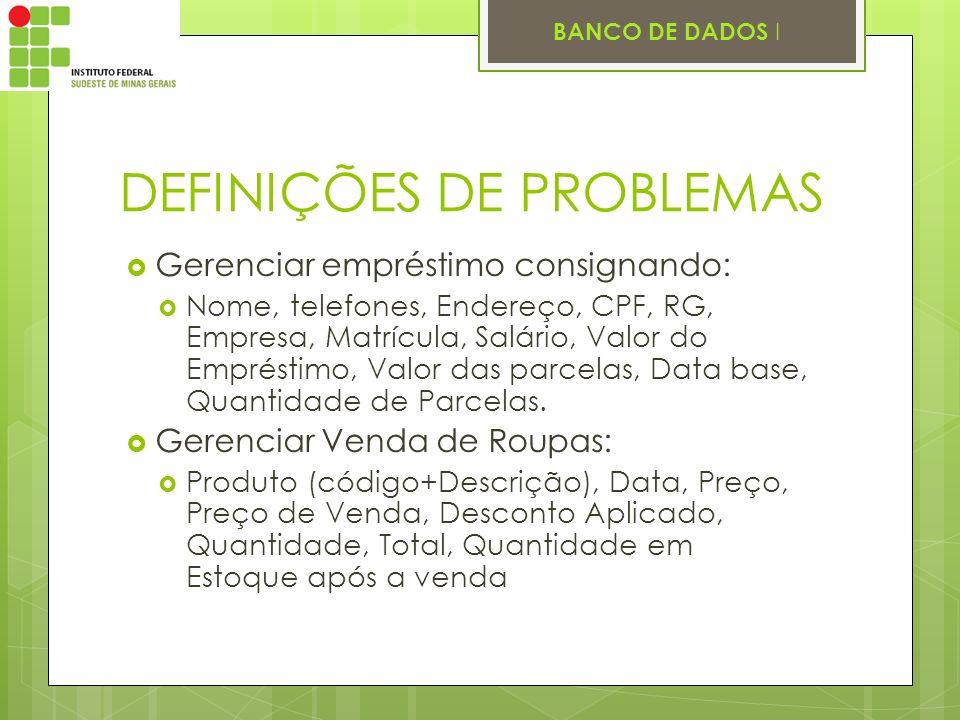 DEFINIÇÕES DE PROBLEMAS