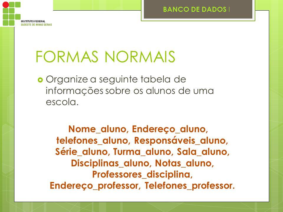 FORMAS NORMAIS Organize a seguinte tabela de informações sobre os alunos de uma escola.
