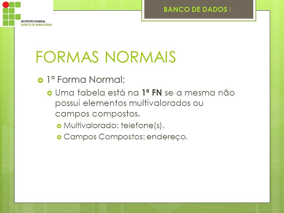 FORMAS NORMAIS 1ª Forma Normal: