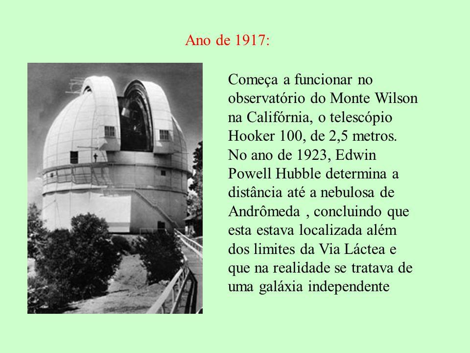 Ano de 1917: Começa a funcionar no observatório do Monte Wilson na Califórnia, o telescópio Hooker 100, de 2,5 metros.