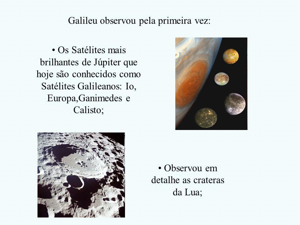 Observou em detalhe as crateras da Lua;
