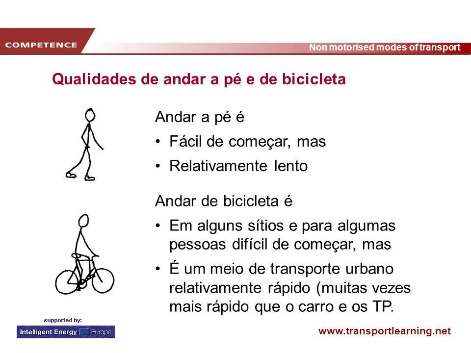 Qualidades de andar a pé e de bicicleta