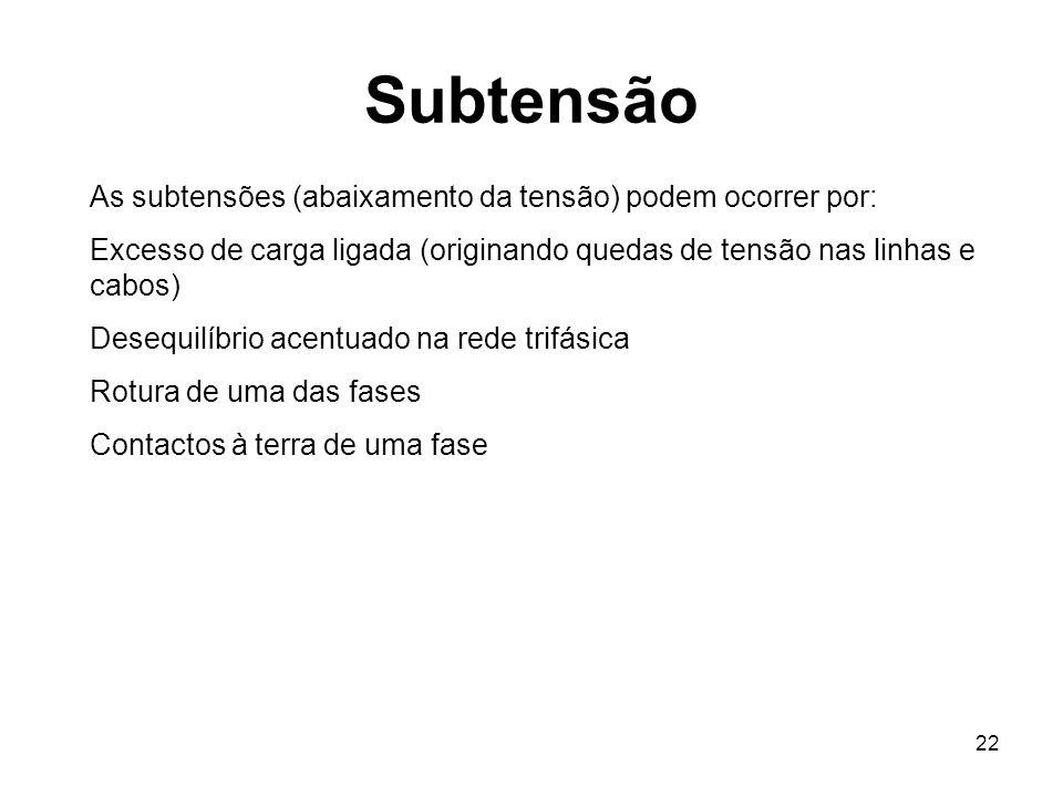 Subtensão As subtensões (abaixamento da tensão) podem ocorrer por: