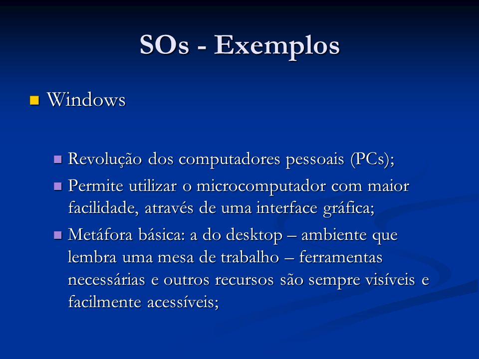 SOs - Exemplos Windows Revolução dos computadores pessoais (PCs);