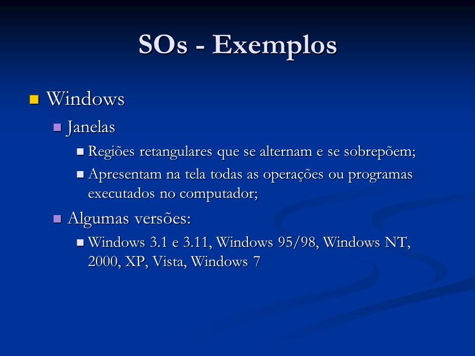 SOs - Exemplos Windows Janelas Algumas versões: