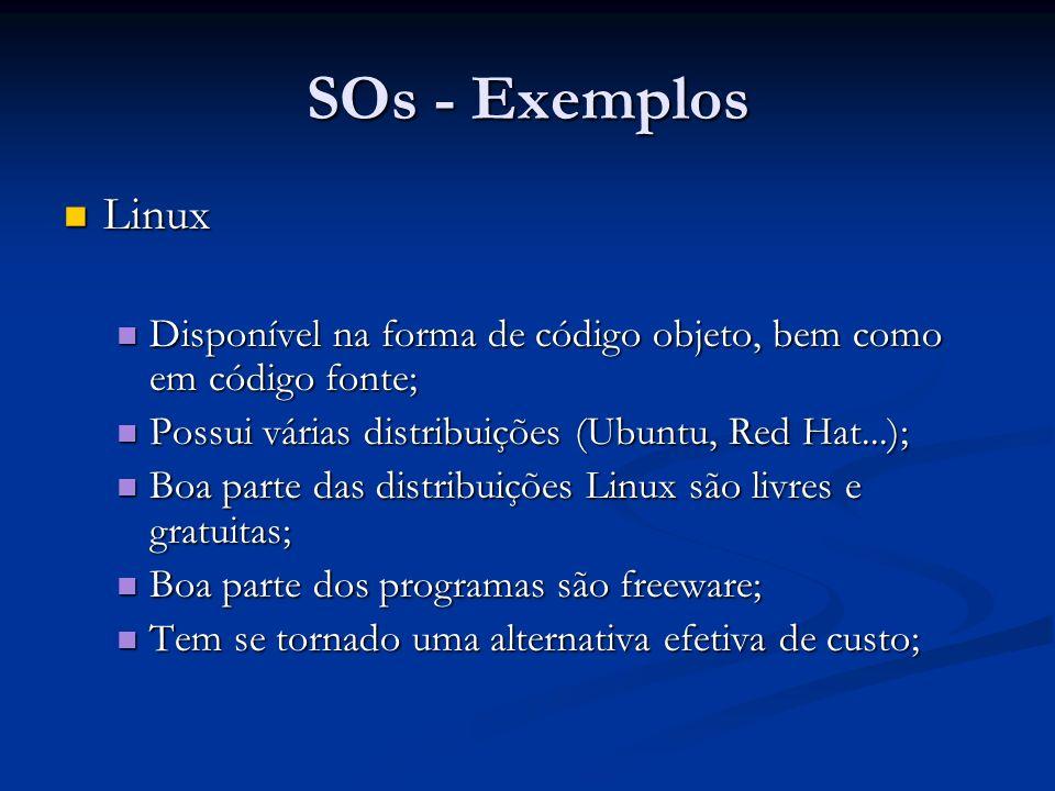 SOs - Exemplos Linux. Disponível na forma de código objeto, bem como em código fonte; Possui várias distribuições (Ubuntu, Red Hat...);
