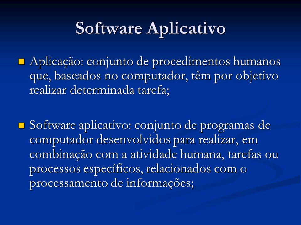 Software Aplicativo Aplicação: conjunto de procedimentos humanos que, baseados no computador, têm por objetivo realizar determinada tarefa;
