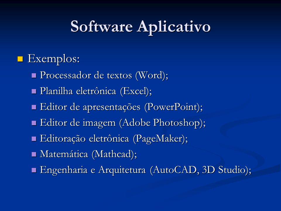 Software Aplicativo Exemplos: Processador de textos (Word);