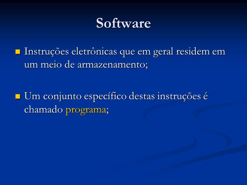 Software Instruções eletrônicas que em geral residem em um meio de armazenamento; Um conjunto específico destas instruções é chamado programa;