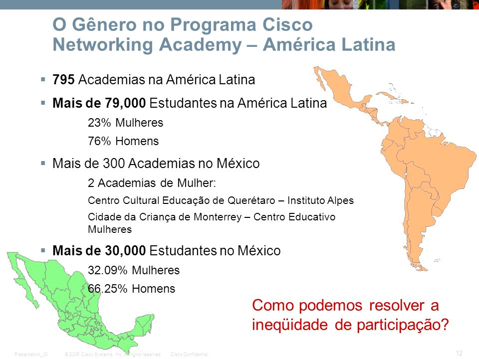 O Gênero no Programa Cisco Networking Academy – América Latina