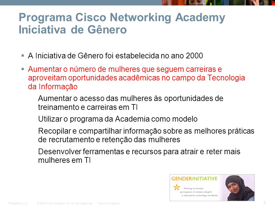 Programa Cisco Networking Academy Iniciativa de Gênero