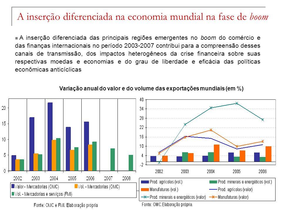 A inserção diferenciada na economia mundial na fase de boom