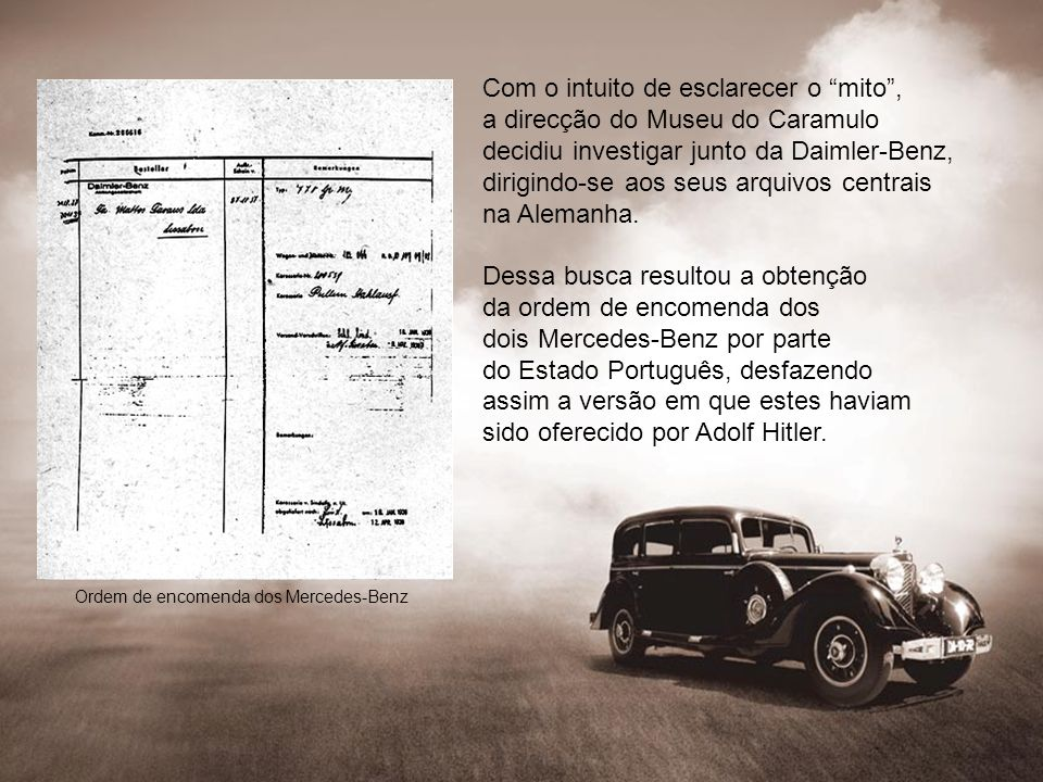 Ordem de encomenda dos Mercedes-Benz