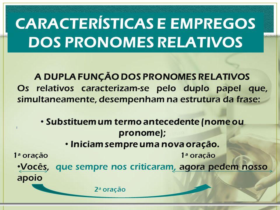 CARACTERÍSTICAS E EMPREGOS DOS PRONOMES RELATIVOS