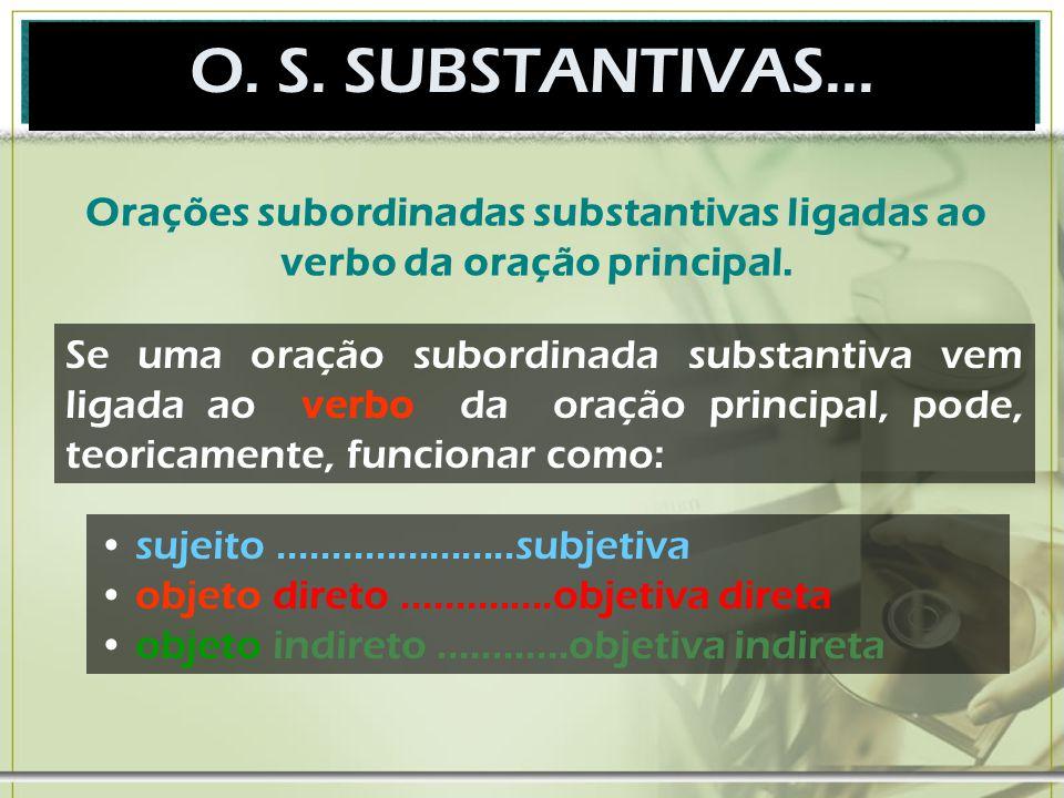 O. S. SUBSTANTIVAS... Orações subordinadas substantivas ligadas ao verbo da oração principal.