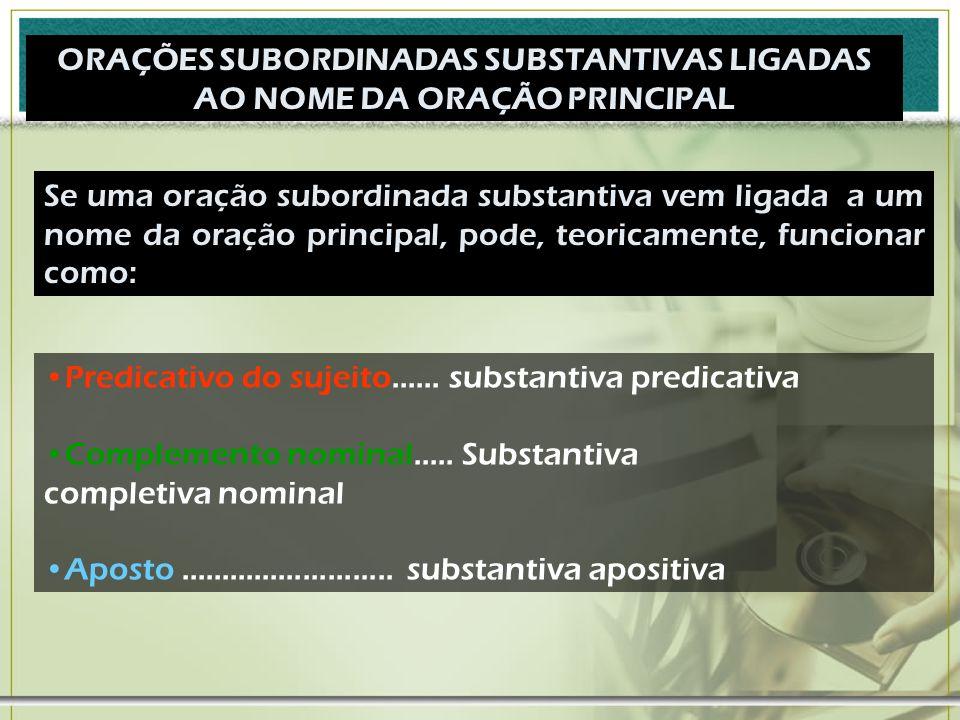 ORAÇÕES SUBORDINADAS SUBSTANTIVAS LIGADAS AO NOME DA ORAÇÃO PRINCIPAL