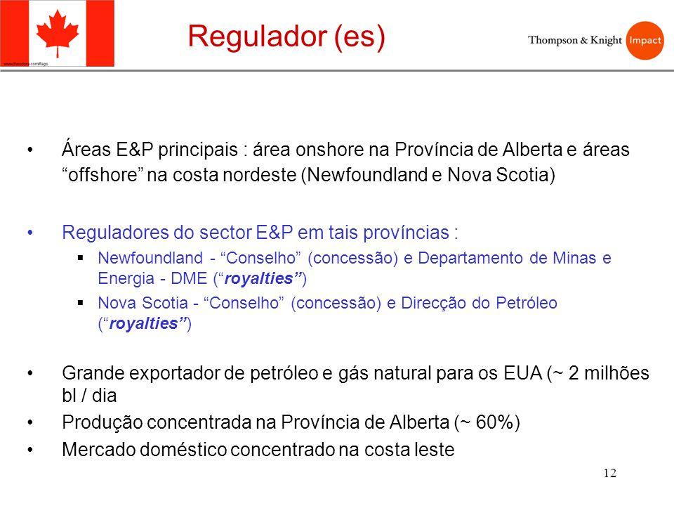 Regulador (es) Áreas E&P principais : área onshore na Província de Alberta e áreas offshore na costa nordeste (Newfoundland e Nova Scotia)