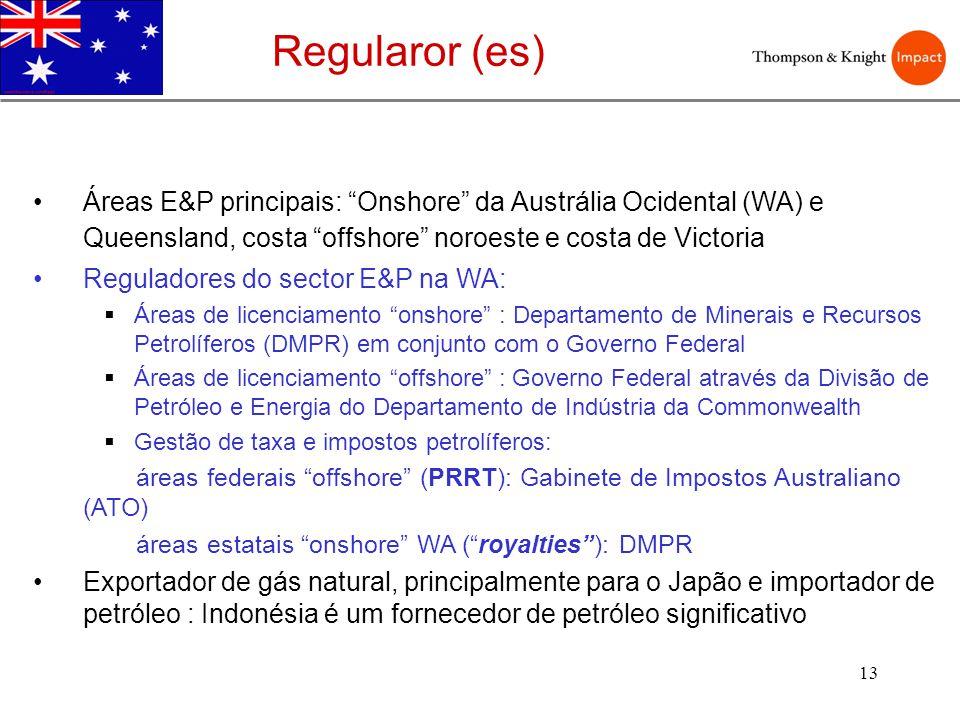 Regularor (es) Áreas E&P principais: Onshore da Austrália Ocidental (WA) e Queensland, costa offshore noroeste e costa de Victoria.