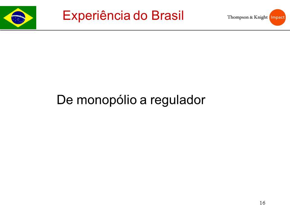 Experiência do Brasil De monopólio a regulador