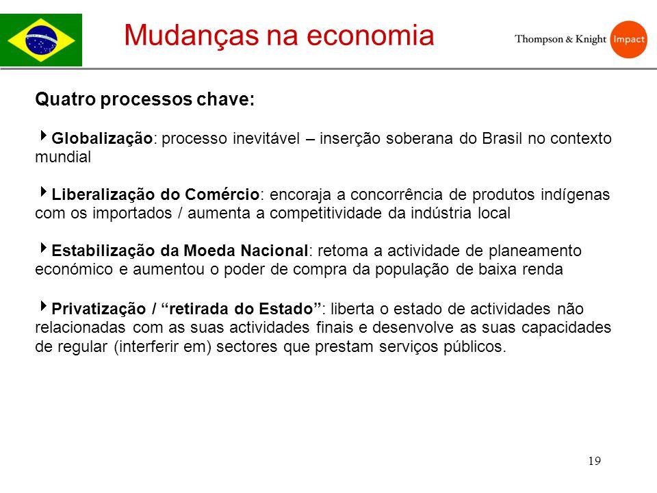 Mudanças na economia Quatro processos chave: