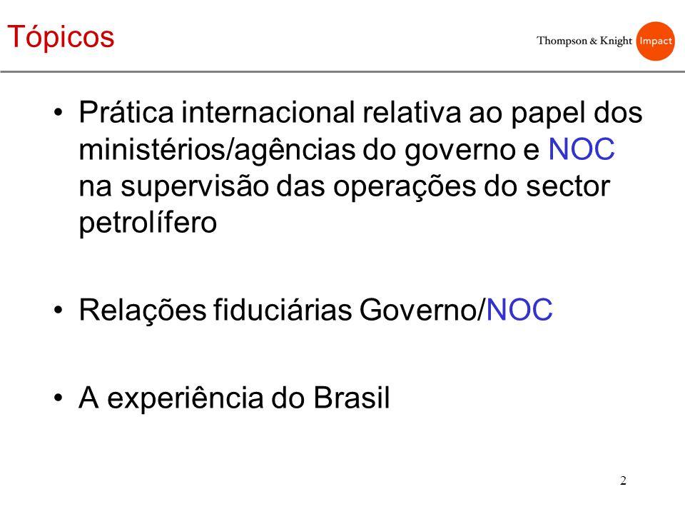 Tópicos Prática internacional relativa ao papel dos ministérios/agências do governo e NOC na supervisão das operações do sector petrolífero.