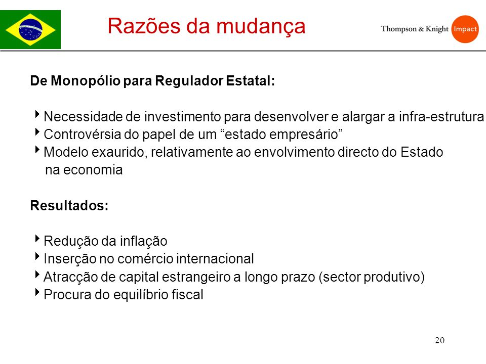 Razões da mudança De Monopólio para Regulador Estatal: