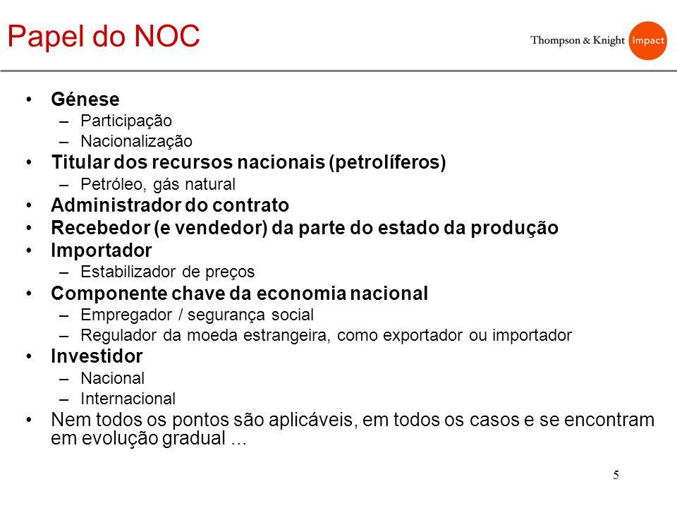 Papel do NOC Génese Titular dos recursos nacionais (petrolíferos)