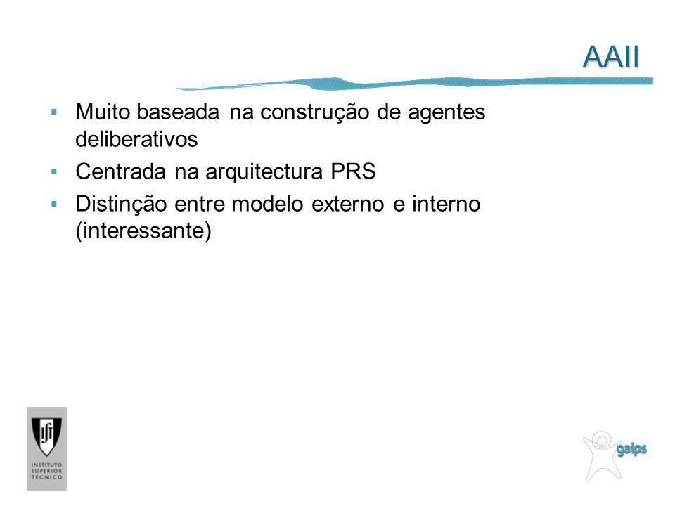AAII Muito baseada na construção de agentes deliberativos