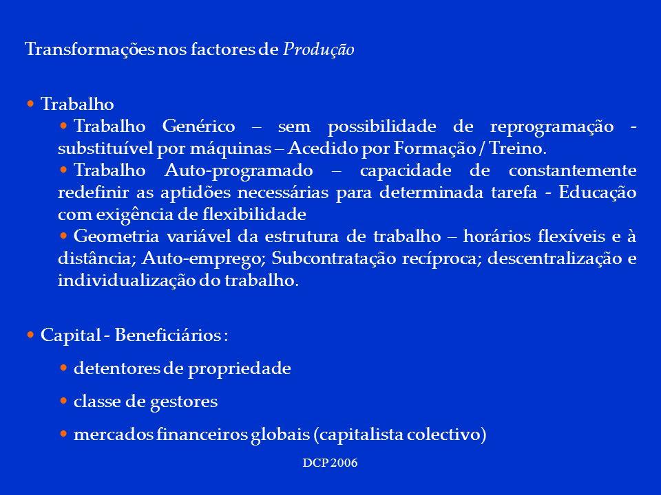 Transformações nos factores de Produção