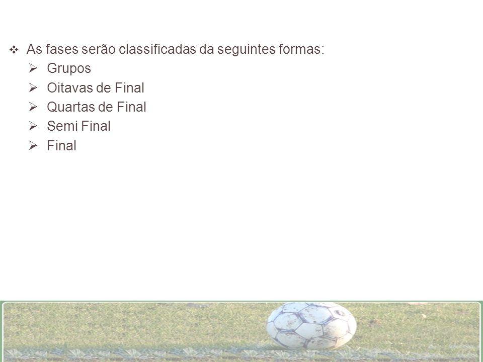 As fases serão classificadas da seguintes formas: