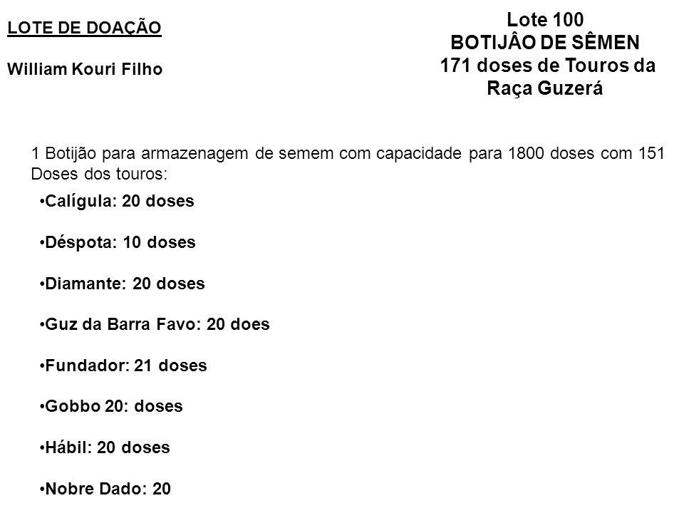 BOTIJÂO DE SÊMEN 171 doses de Touros da Raça Guzerá
