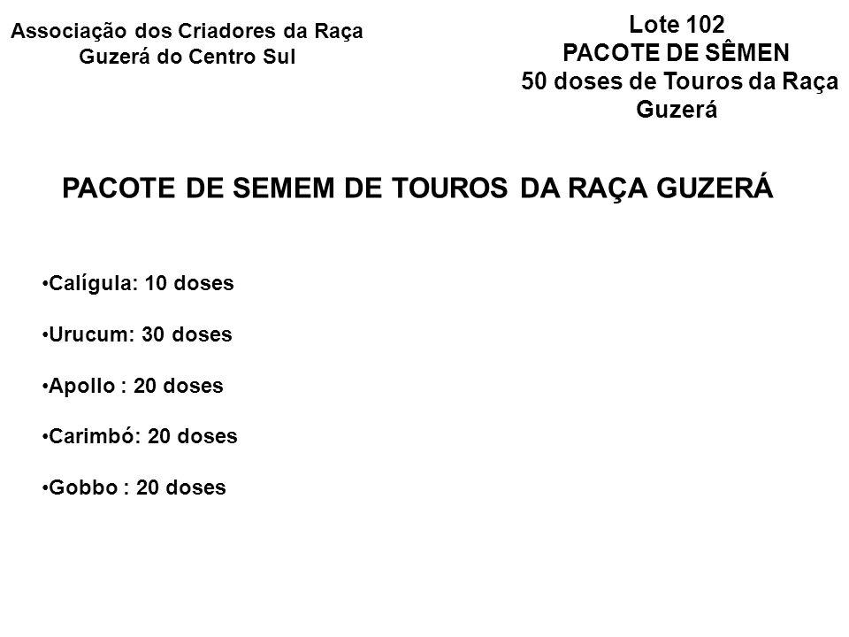 PACOTE DE SEMEM DE TOUROS DA RAÇA GUZERÁ