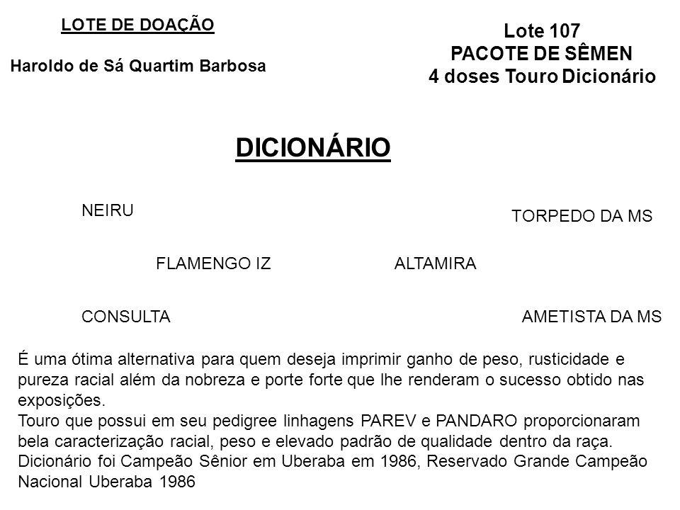 Haroldo de Sá Quartim Barbosa 4 doses Touro Dicionário