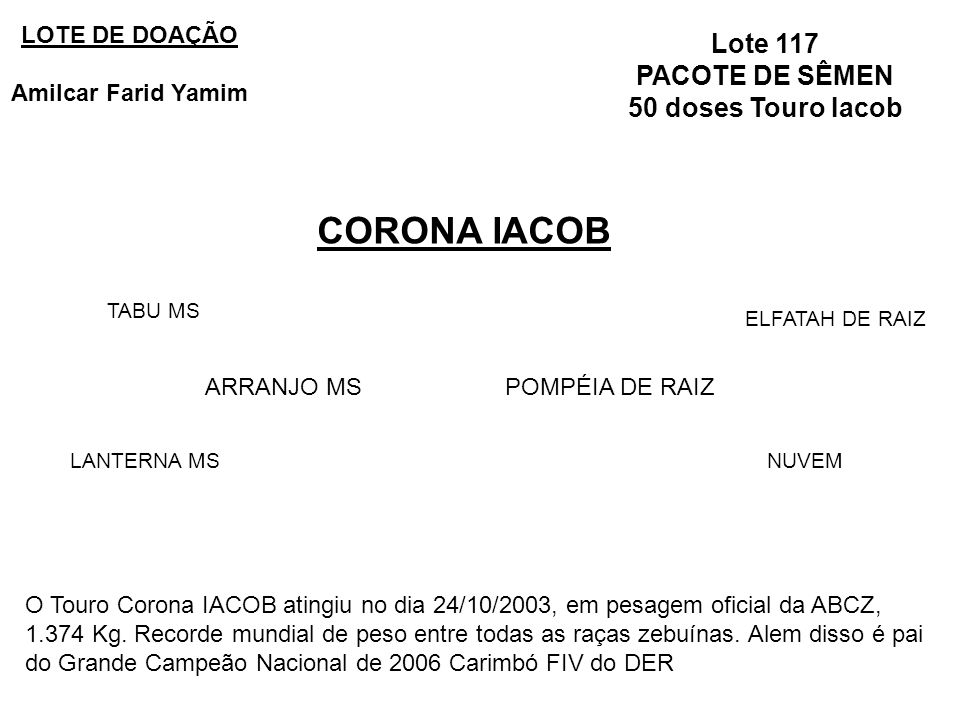 CORONA IACOB Lote 117 PACOTE DE SÊMEN 50 doses Touro Iacob