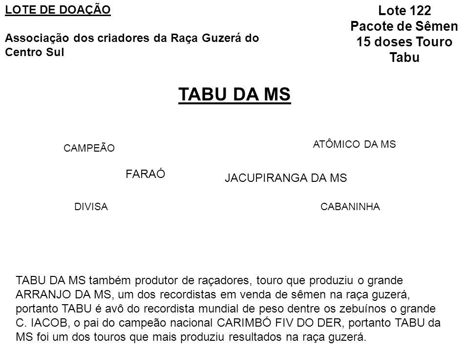 TABU DA MS Lote 122 Pacote de Sêmen 15 doses Touro Tabu LOTE DE DOAÇÃO