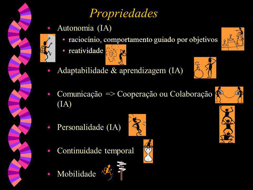 Propriedades Autonomia (IA) Adaptabilidade & aprendizagem (IA)