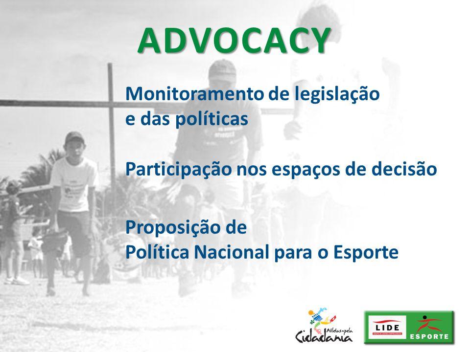 ADVOCACY Monitoramento de legislação e das políticas Participação nos espaços de decisão.
