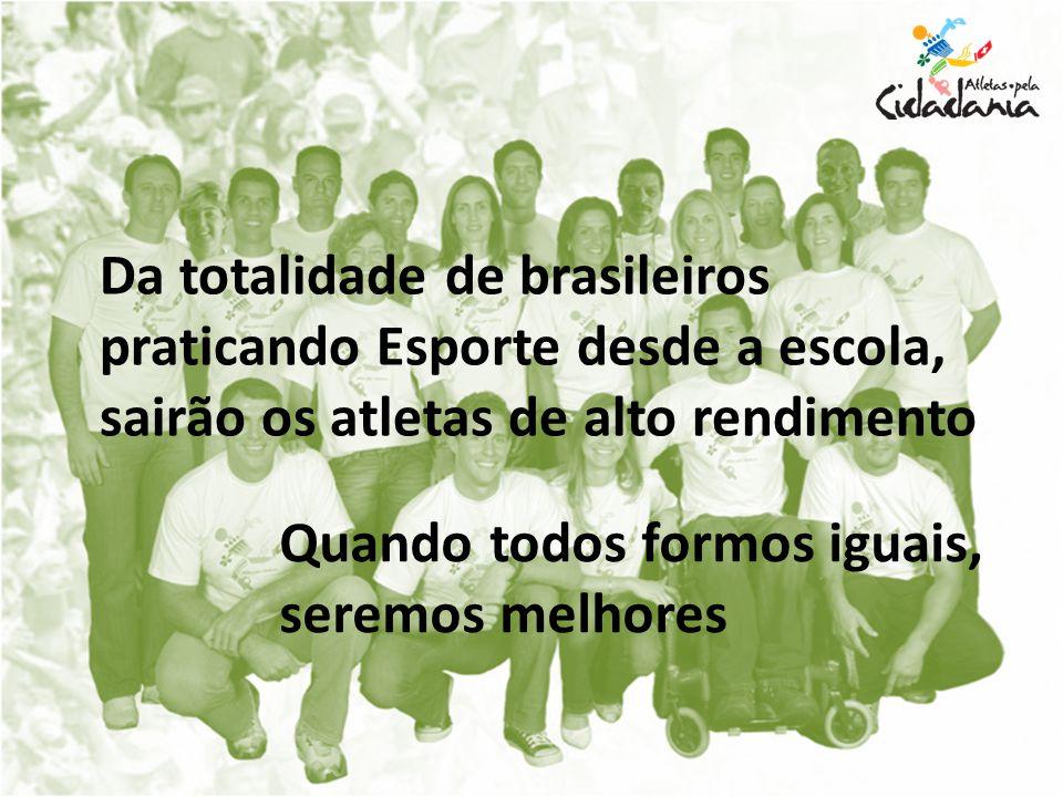Da totalidade de brasileiros praticando Esporte desde a escola, sairão os atletas de alto rendimento