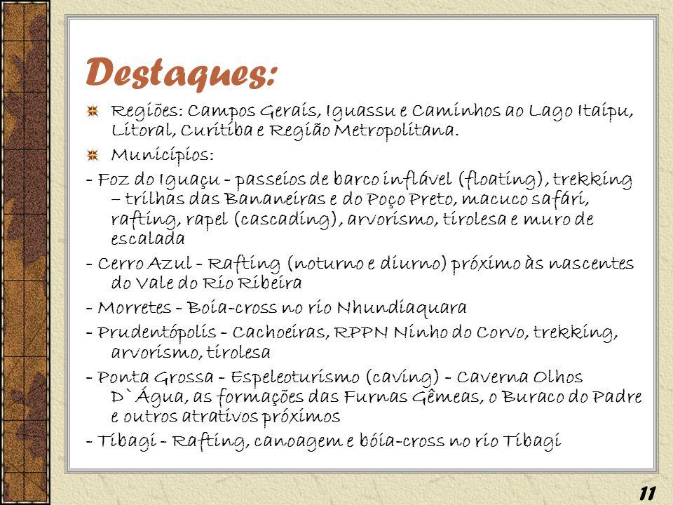 Destaques: Regiões: Campos Gerais, Iguassu e Caminhos ao Lago Itaipu, Litoral, Curitiba e Região Metropolitana.