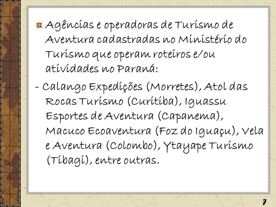 Agências e operadoras de Turismo de Aventura cadastradas no Ministério do Turismo que operam roteiros e/ou atividades no Paraná: