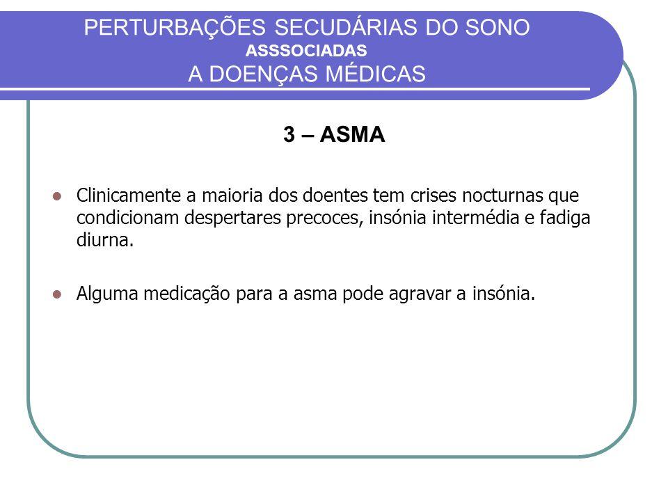 PERTURBAÇÕES SECUDÁRIAS DO SONO ASSSOCIADAS A DOENÇAS MÉDICAS