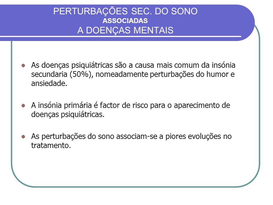 PERTURBAÇÕES SEC. DO SONO ASSOCIADAS A DOENÇAS MENTAIS
