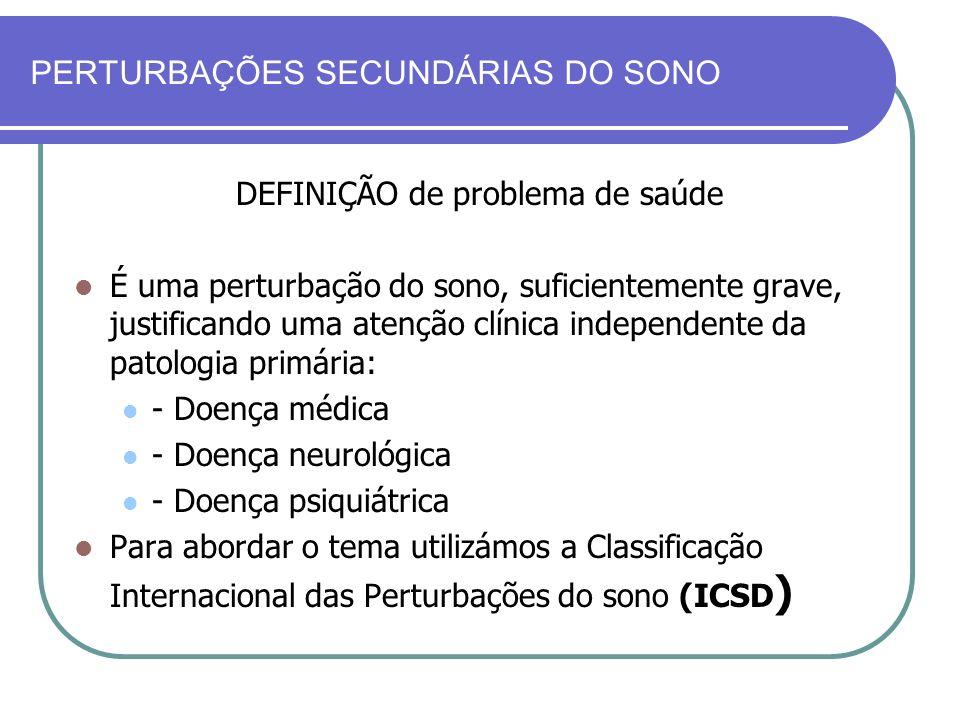 PERTURBAÇÕES SECUNDÁRIAS DO SONO