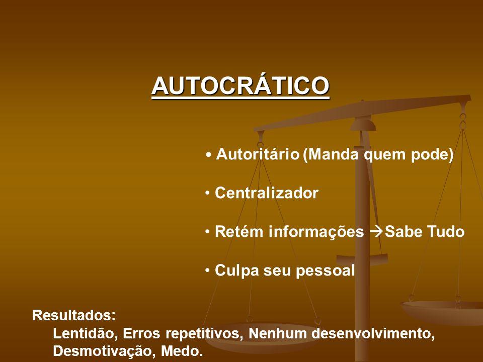 AUTOCRÁTICO Autoritário (Manda quem pode) Centralizador