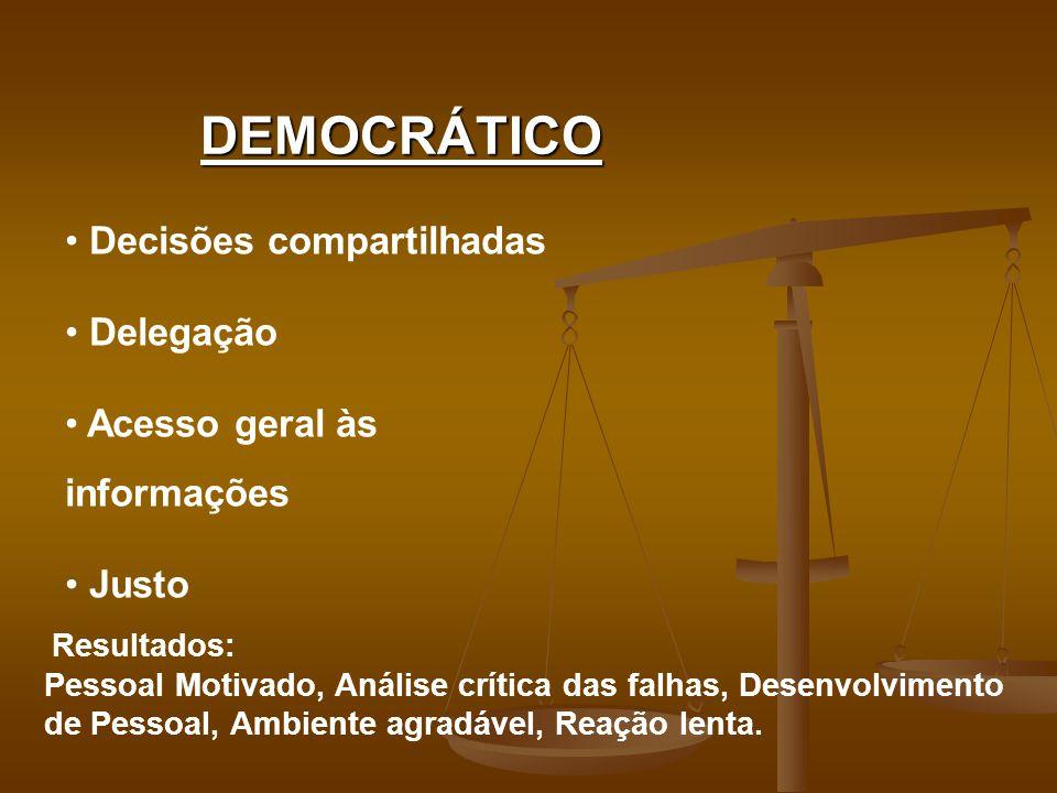 DEMOCRÁTICO Decisões compartilhadas Delegação