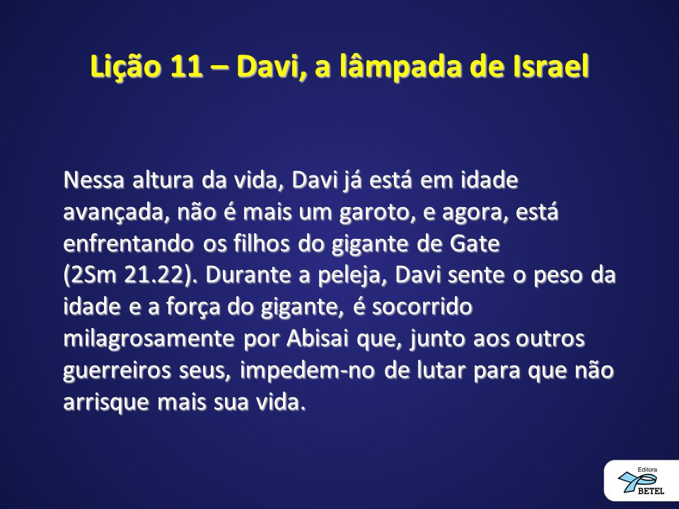 Lição 11 – Davi, a lâmpada de Israel