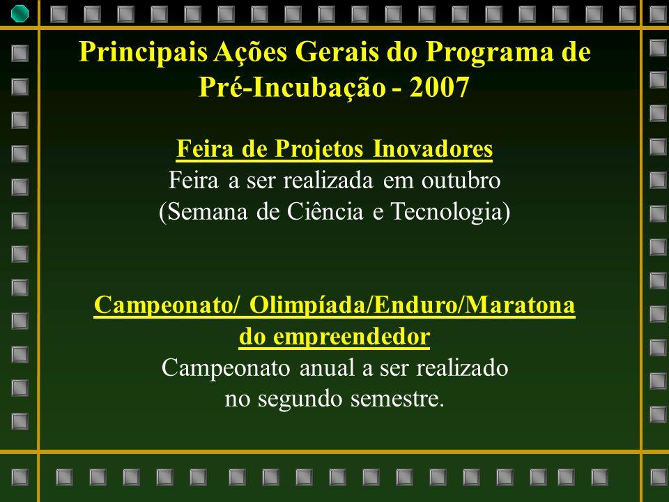 Principais Ações Gerais do Programa de Pré-Incubação - 2007