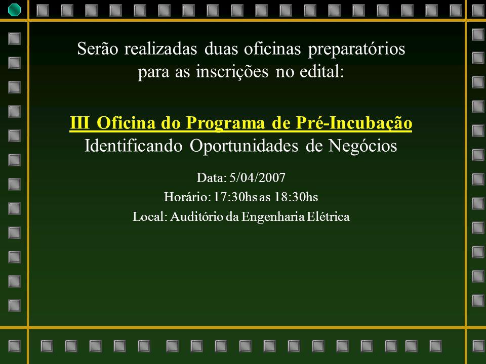 III Oficina do Programa de Pré-Incubação
