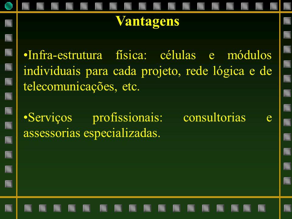 Vantagens Infra-estrutura física: células e módulos individuais para cada projeto, rede lógica e de telecomunicações, etc.